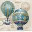 แนวภาพศิลปะ ภาพวาดบอลลูนลายแต่งสีฟ้า ภาพโทนสีครีม เป็นภาพ 4 บล๊อค กระดาษแนพกิ้นสำหรับทำงาน เดคูพาจ Decoupage Paper Napkins ขนาด 33X33cm thumbnail 1