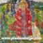 กระดาษสาพิมพ์ลาย สำหรับทำงาน เดคูพาจ Decoupage แนวภาำพ ภาพวาด สาวผมบลอนด์ในชุดแดงสดใสเจิดจ้า อยู่ในสวนดอกไม้กับแมวตัวสูง thumbnail 1