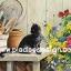 กระดาษสาพิมพ์ลาย สำหรับทำงาน เดคูพาจ Decoupage แนวภาพ แมวดำนั่งบนโต๊ะอุปกรณ์ทำสวน จำพวกพลั่ว เสียม มองเหลียวหลังเหมือนอยากช่วย thumbnail 1