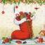 แนวภาพเทศกาล คริสมาสต์กับแซนต้าครอส มากับของขวัญในรองเท้ายักษ์ บนพื้นครีม เป็นภาพ 4 บล๊อค กระดาษแนพกิ้นสำหรับทำงาน เดคูพาจ Decoupage Paper Napkins ขนาด 33X33cm thumbnail 1