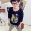 Huanzhu kids ชุดเซตเด็ก 3 ชิ้น เสื้อแขนยาวสีดำ สกีนรูปเสือ +กางเกงลายเสือ + ผ้าพันคอน่ารักสไตล์เกาหลี เก๋มากค่ะ thumbnail 1