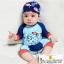 ชุดว่ายน้ำเด็กทารกความสูง 70-140ซม. ลายปลาปักเป้าแขนยาวพร้อมหมวกค่ะ thumbnail 1