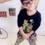 Huanzhu kids ชุดเซตเด็ก 3 ชิ้น เสื้อแขนยาวสีดำ สกีนรูปเสือ +กางเกงลายเสือ + ผ้าพันคอน่ารักสไตล์เกาหลี เก๋มากค่ะ thumbnail 2