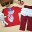 Huanzhu kids ชุดแฟชั่นเด็ก 2 ชิ้น เสื้อสีแดง ลายแมว+ กางเกงลายสก็อต น่ารักสไตล์เกาหลี thumbnail 4