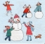 แนวภาพเทศกาล คริสมาสต์กับเด็กน้อย มาเล่นปั้นตุ๊กตาหิมา บนพื้นฟ้า เป็นภาพแนวยาว กระดาษแนพกิ้นสำหรับทำงาน เดคูพาจ Decoupage Paper Napkins ขนาด 33X33cm thumbnail 1