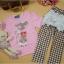Huanzhu kids ชุดแฟชั่นเด็ก 2 ชิ้น เสื้อสีชมพู ลายแมว+ กางเกงลายสก็อต น่ารักสไตล์เกาหลี thumbnail 4